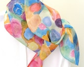 Silk scarf watercolour  floral hand painted design