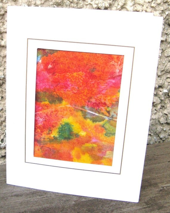 Silk card hand painted orange abstract design