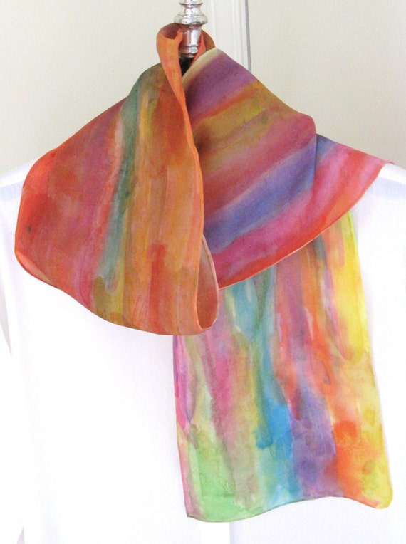 Abstract  muted colours hand painted silk scarf