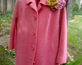 Be My Valentine Pink Vintage Wool Coat Jacket with gorgeous brooch corsage