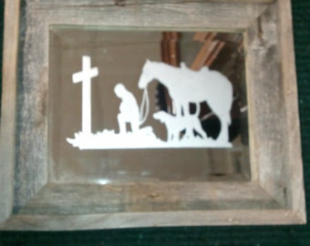 8 x 10 Barnwood framed Hand etched mirror Taking a moment to Pray