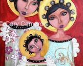 Three Angels fantasy lowbrow big eye folk art fairy art print by Cary Cameron 8 x 10 in.