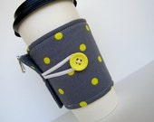 Coffee Cup Cozy - Adjustable - Grey and Yellow