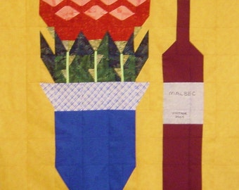 WINE & ROSES- Quilt/Wall Hanging - Pattern Only