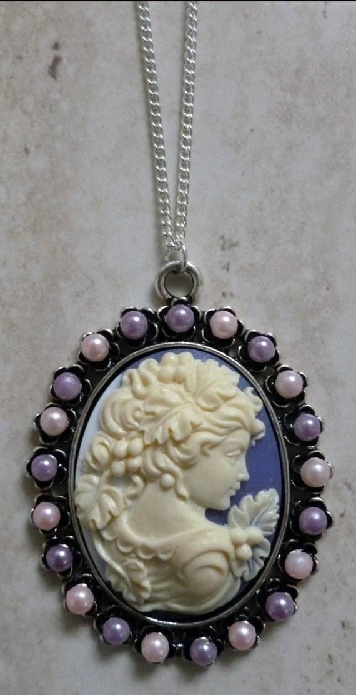 Handmade Purple Cameo Lady Necklace