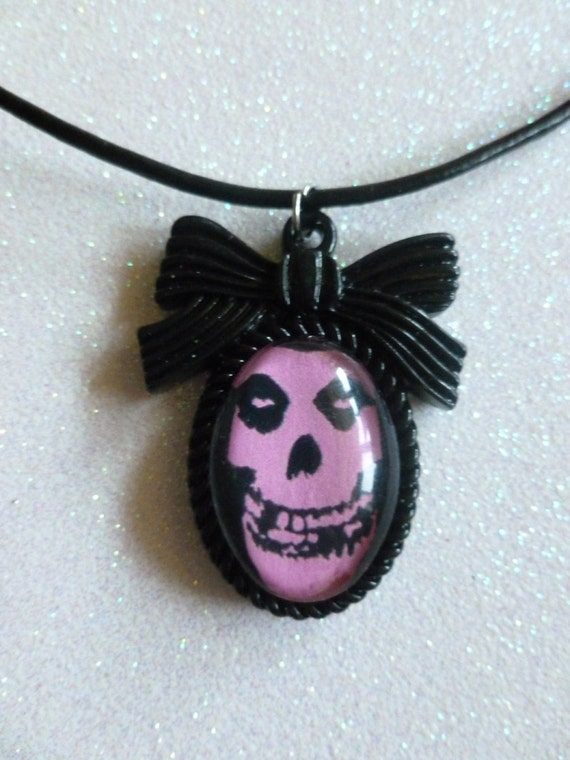 Pink Misfits Skull Cameo Necklace