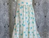 Flower Girl Silk Aqua Dot Dress OOAK