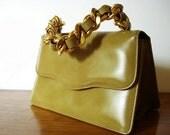 Vintage MAKKAY Spicy Golden Mustard Leather Handbag & Mirror - Dark Brown Interior - 1960
