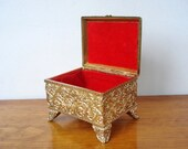 Vintage Gold Filigree & Jeweled Casket Jewelry Box - Red Velvet Interior -Trinkets Keepsakes - 1940