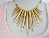 Vintage Carved Bone Spikes & Silver Paddles Necklace - Collar - Tribal - 1960