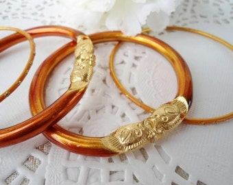 Vintage Aluminum Tube Bangle Bracelets - Orange & Gold - Unusual - 1960 - Set of 4