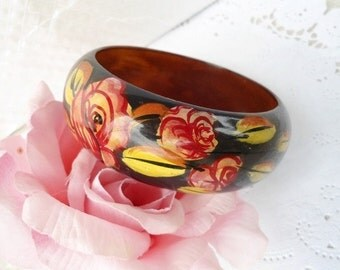 "Vintage Wide Brown Lacquered Bangle Pink Roses - Hand Painted - Bohemian - 1"" High - 1970"