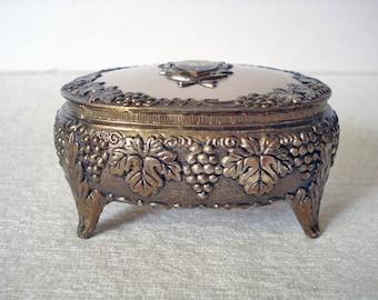 Vintage Brass & Pink Enamel Casket Jewelry Trinket Box - Souvenir - Texas Lone Star State - Red Velvet Interior - 1950