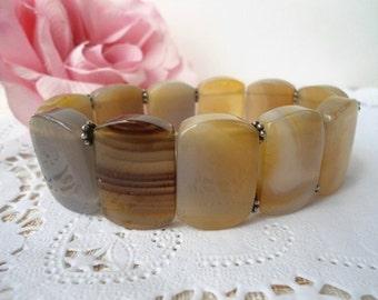 Vintage Polished Stone Stretch Bracelet - Chunky - 1970