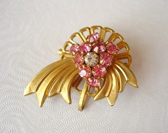 Vintage Gold and Pink Rhinestone Brooch - Layered 3 Dimensional - 1940 - Unique