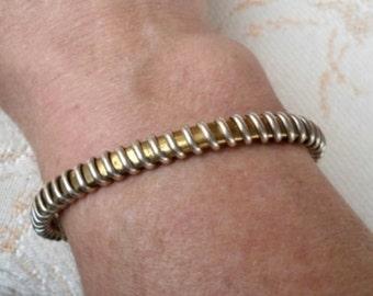 Vintage Brass & Silver Cuff Bracelet - Open Back - Unisex - COOL - 1970