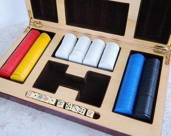 Vintage Gambling Poker Chips Dice Box - Heavy Chips - Custom Box - Padded Velvet  - Amazing