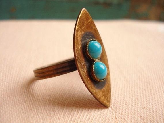 """Vintge Modernist Copper & Turquoise Adjustable Ring - 1 1/8"""" High - 1960"""
