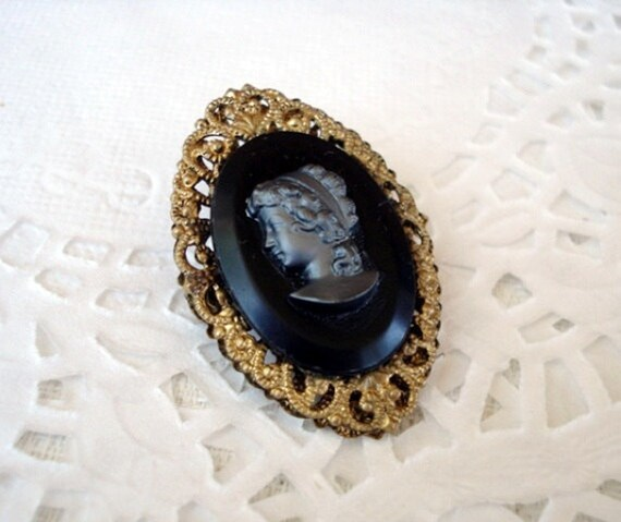"""Vintage W GERMANY Gold Filigree Black Cameo Brooch - Left Facing - 1 1/2"""" High - C Clasp - Signed - 1930 - Very Unusual"""