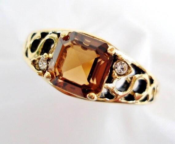 Vintage ESPO 14K HGE Antiqued Golden Brown Topaz Ring - Emeral Cut Glass Rhinestone - Signed - 1960 - Pretty