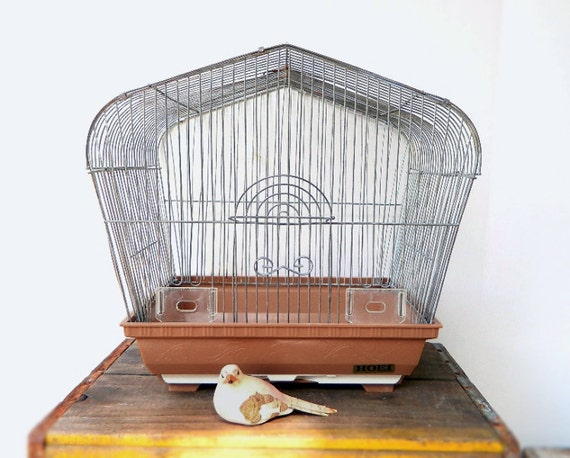 Vintage Mid Century Wire Birdcage - Fawn Brown Plastic Base - 1950 - Makes a Great Planter
