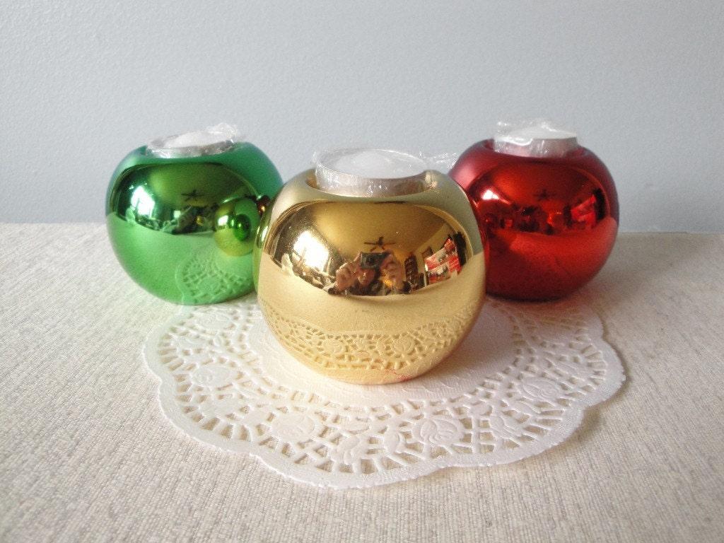Vintage Christmas Ball Candle Holders Tea By Flossystreasures