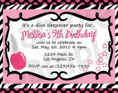 Diva Girl Birthday Party Invitations You Print Personalized Card Customized 5x7 or 4x6 Invite