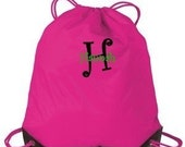 4 Personalized monogrammed cinch sack