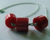 Vintage Lucite and Silver Necklace- Red