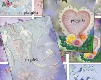 digital  collage sheet download and print  ACEO / ATC 9 tags