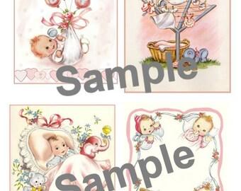 Vintage Baby Collage Sheet Digital, Printable, download, DIY