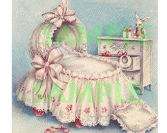 Vintage Baby Furniture, digital image, printable, 300 dpi, vintage greeting card, baby card, scrapbooking