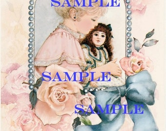 Vintage Victorian Digital Girl and doll -download, printable, roses, scrapbooking, card making