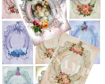 Fancy Frames  ACEO ATC Tags,    Digital, Printable, download, Shabby Victorian  card making, stamping