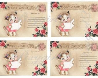 Vintage Postcards with Girl Cat reading, digital download, for scrapbooking, albums, cardmaking