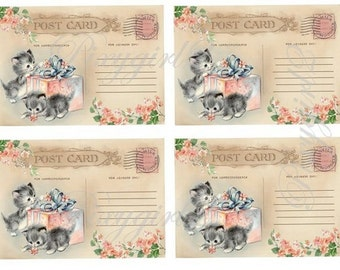 Vintage Postcards with Kittens and gift, digital download, for scrapbooking, albums, cardmaking