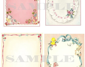 Vintage backgrounds for baby and more, Digital graphics, DIY, Printable, download, collage sheet, aceo cards
