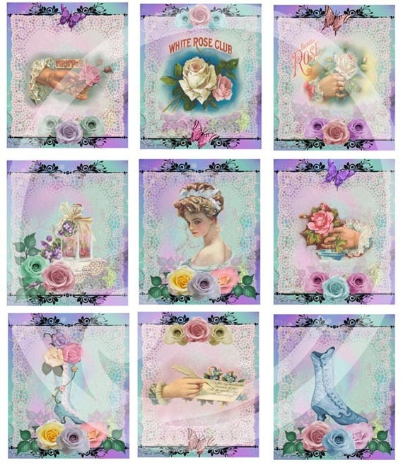 9 Victorian Rose lace Tags Collage printable sheet ACEO/ATC