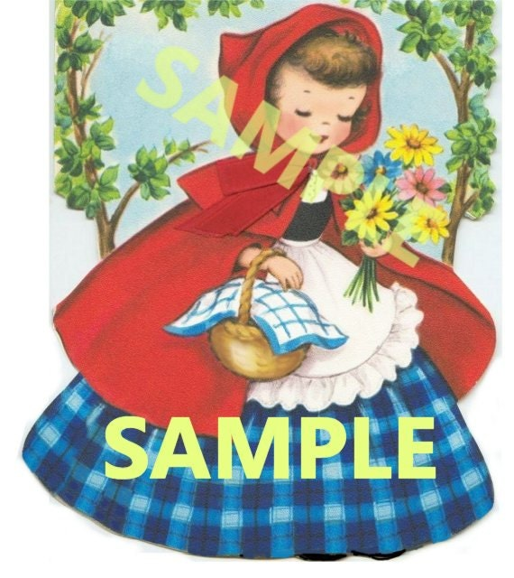 Vintage Little Red Riding Hood digital image you print download
