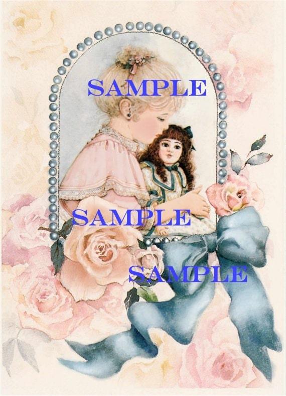 Vintage Victorian Digital Girl and doll -download, printable, roses, scrapbooking, card making