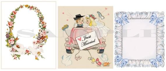 Vintage Wedding backgrounds, Digital graphics, DIY, Printable, download, collage sheet, aceo cards