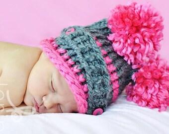 Baby girl aviator hat grey pink brown