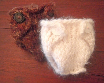 Knitted baby diaper cover white