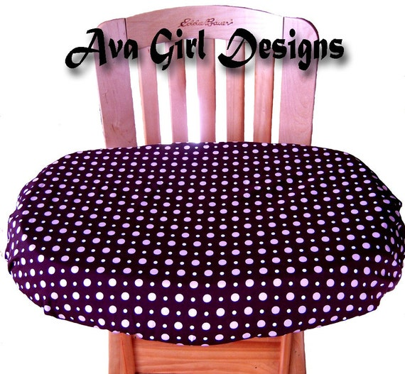 Clearance Sale Item Highchair Tray Cover  Dark Brown with Pink and Cream Dots  Can be used as a Highchair Tablecloth Ready to Ship