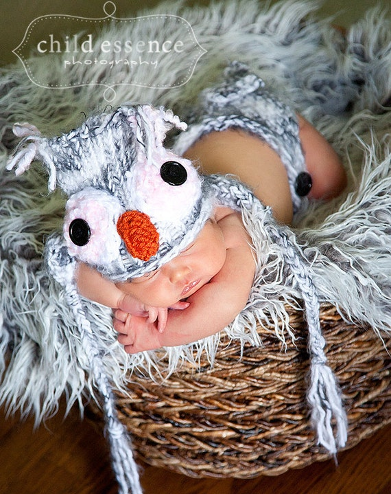 Baby owl hat and diaper cover set knitted grey yarn boy girl  3 to 6 months