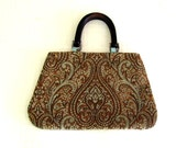 Boho Carpet Style Bag in Chocolate Aqua and Gold Tapestry