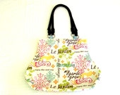 Le Jardin Spring Fabric Fat Bottom Bag Purse Aqua Pink