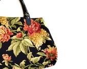 Floral Carpet Style Bag Black Coral Green