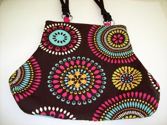 Dark Brown Pink and Turquoise Modern Print Fat Bottom Bag Purse