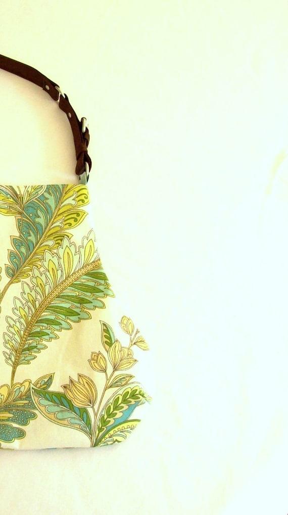 Fern Leaf Print Fat Bottom Bag Handbag Purse Green Teal Yellow Aqua